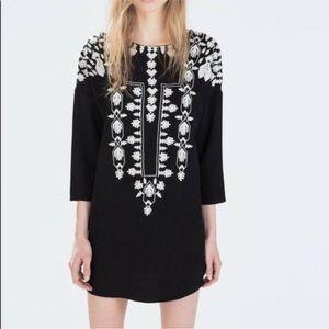 Zara Trafaluc Black & White Embroidered Tunic S
